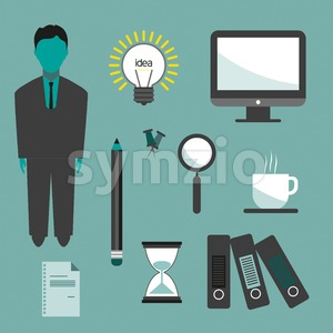 Business idea infographic with icons, persons, computer, pencil and badge, flat design. Digital vector image Stock Vector