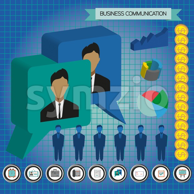 Business communication infographic with icons, persons, money and charts, flat design. Digital vector image