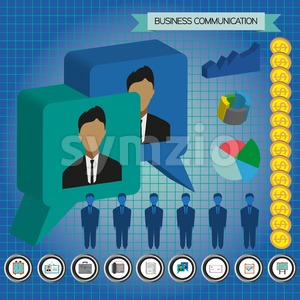 Business communication infographic with icons, persons, money and charts, flat design. Digital vector image Stock Vector