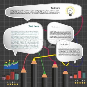 Business idea infographic with icons, charts and pencils, flat design. Digital vector image Stock Vector