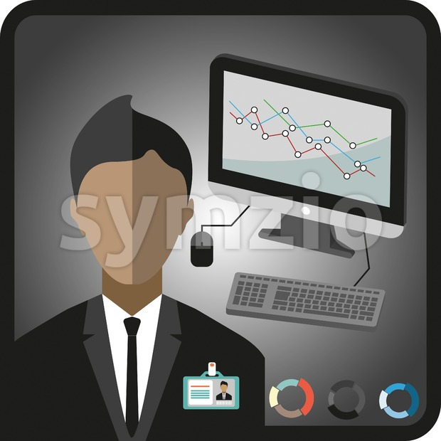 Business infographic with icons, person, computer, charts and badge, flat design. Digital vector image Stock Vector