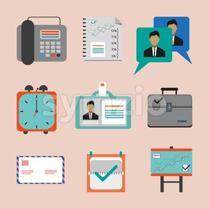 Business icons set, flat style. Digital vector image Stock Vector