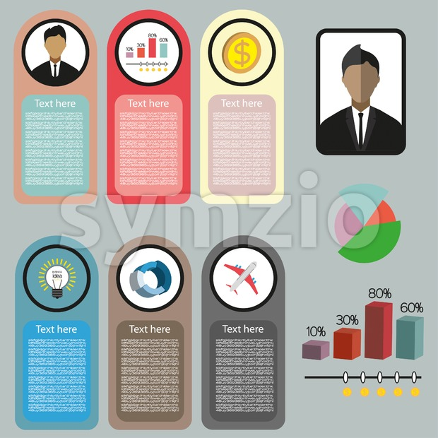 Business idea infographic with icons, persons, money and charts, flat design. Digital vector image Stock Vector