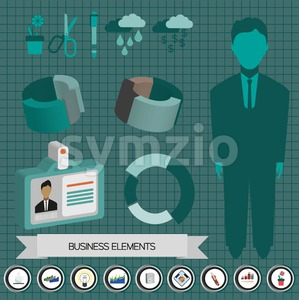 Business elements infographic with icons, persons, idea, charts and papers, flat design. Digital vector image Stock Vector