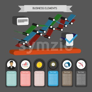 Business idea infographic with icons and charts, flat design. Digital vector image Stock Vector