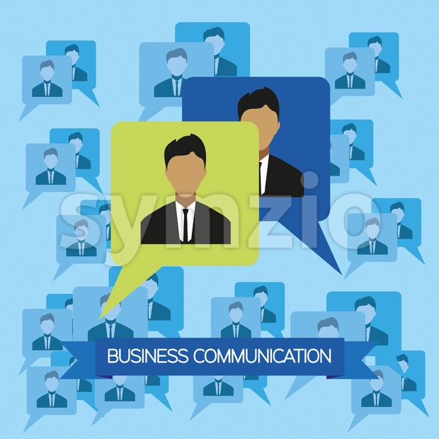 Business communication infographic with icons, persons and team members, flat design. Digital vector image Stock Vector