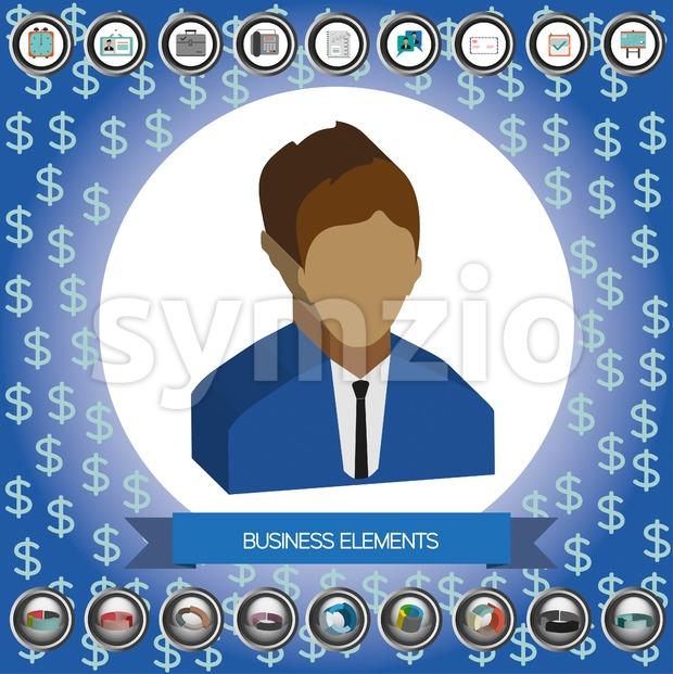 Business elements infographic with icons, person, idea, charts and papers, flat design. Digital vector image Stock Vector