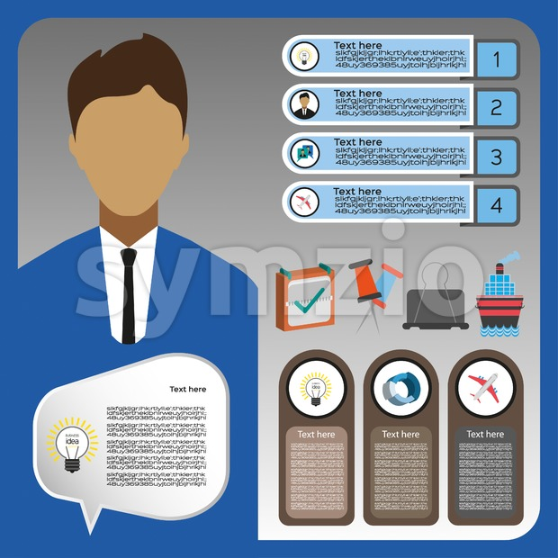 Business elements infographic with person, ship and business idea, flat design. Digital vector image Stock Vector