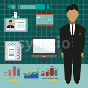 Business elements infographic with icons, charts and computer, flat design. Digital vector image Stock Vector