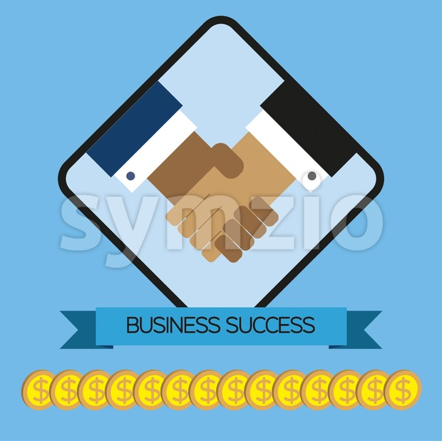 Business elements infographic with money and shaking hands, flat design. Digital vector image Stock Vector