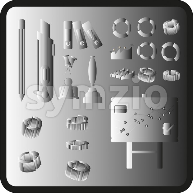 Business elements infographic with icons and charts, silver flat design. Digital vector image Stock Vector