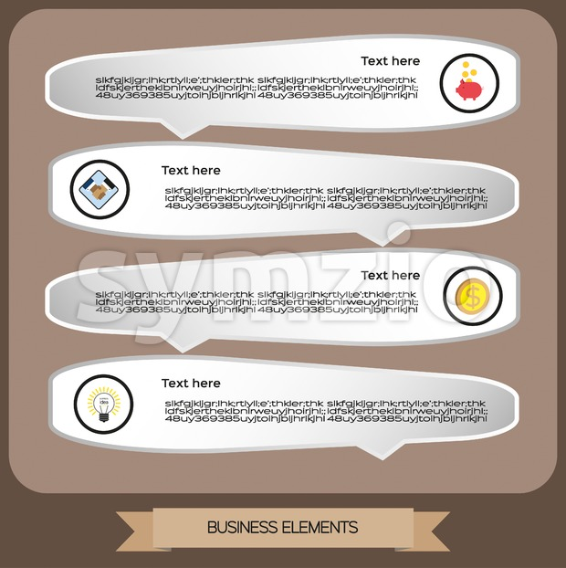 Business elements infographic with icons, business idea and money, flat design. Digital vector image