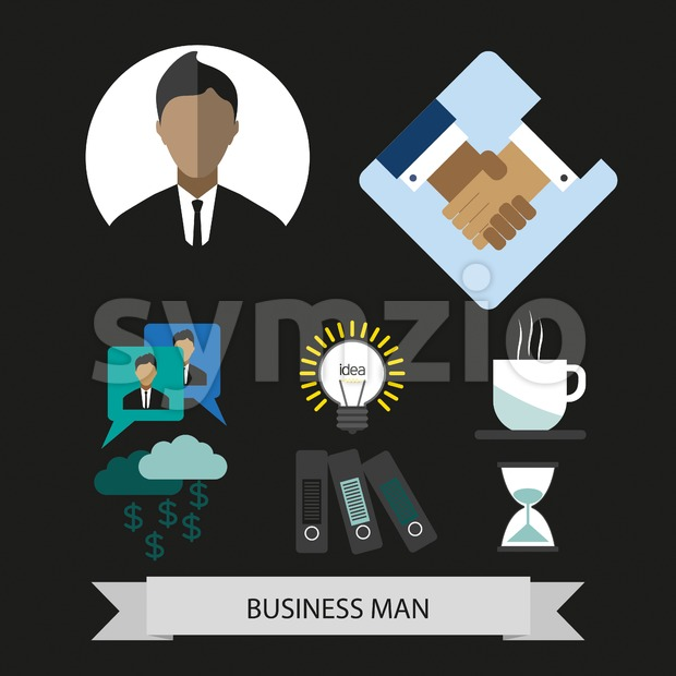 Business elements infographic with icons, idea and money, flat design. Digital vector image Stock Vector