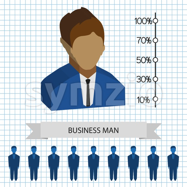 Businessman profiles icons with chart, flat style. Digital vector image