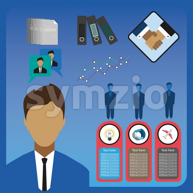 Business elements infographic with icons, charts and workers, flat design. Digital vector image Stock Vector