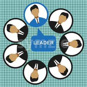 Business leader of the team design, flat style. Digital vector image Stock Vector