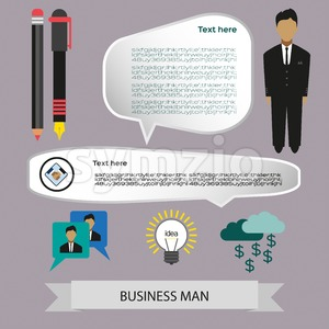 Business elements infographic with icons, charts and idea, flat design. Digital vector image Stock Vector