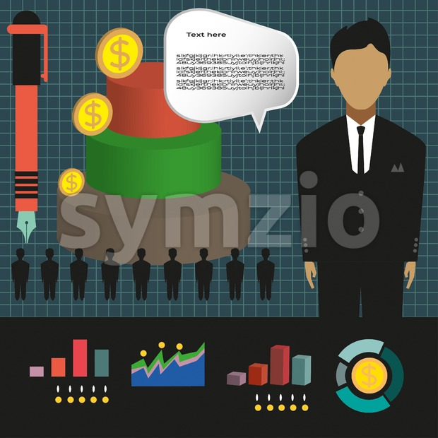 Business elements infographic with person, 3d pie chart and business idea, flat design. Digital vector image Stock Vector