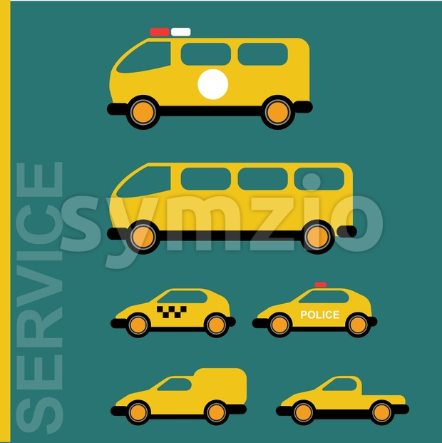 Public service cars. Ambulance, school bus, taxi, police, hauler. Car transporter. Various automobiles. Isolated objects on green backdrop. Vector digital ...