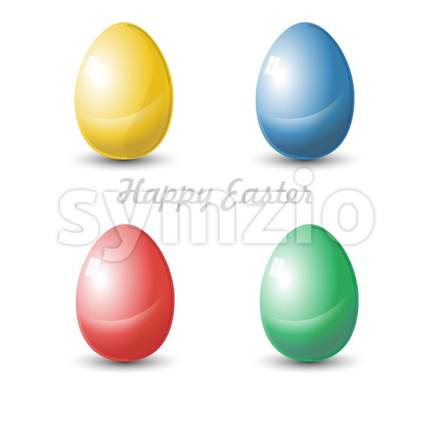 Happy Easter Card. Four isolated Plain Colored Easter Eggs. Digital background vector illustration. Stock Vector
