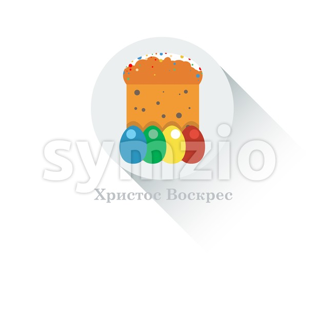 Happy Easter Russian Card. Easter Bread with Glaze, Sprinkles and Raisins. Plain Colored Easter Eggs. Easter Cake in Russia. Digital background vector Stock Vector