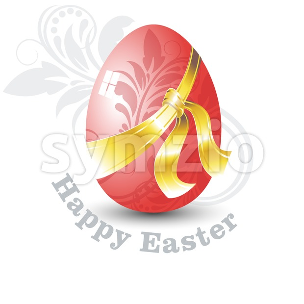 Happy Easter Card. Red Easter Egg with Floral Ornate Design and Golden Ribbon. Digital background vector illustration.