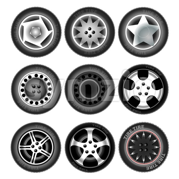 Collection of nine wheels with tires. Different forms and object variation. Car wheels. Isolated tires on white background. Digital vector Stock Vector