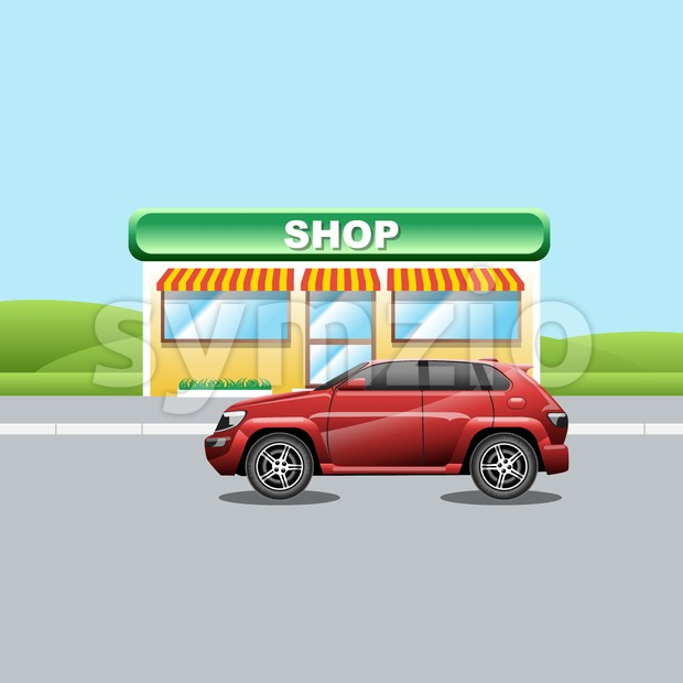 Red crossover on the road near a shop. A vehicle parked near a mini market. Suburban landscape view. Digital vector ...