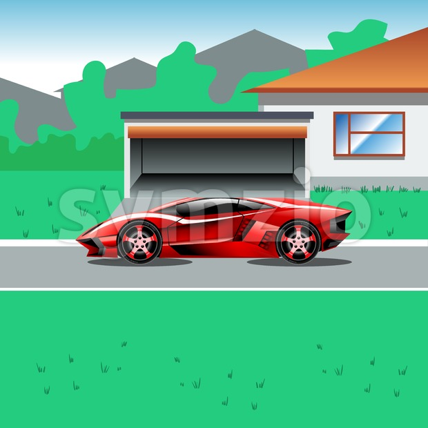 Red luxury sport car parked beside a house with a garage. Suburban house landscape view. Advertising campaign illustration for a ...