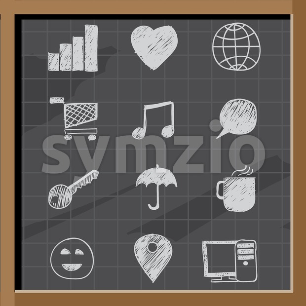 Hand drawn business signs on chalkboard Stock Vector