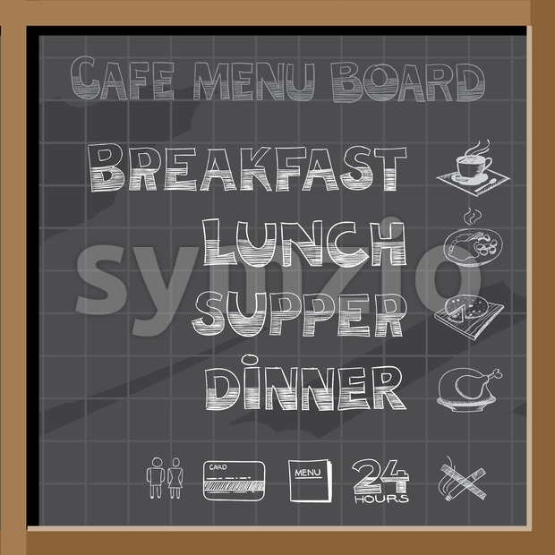Hand drawn cafe menu board signs and food collection on chalkboard Stock Vector