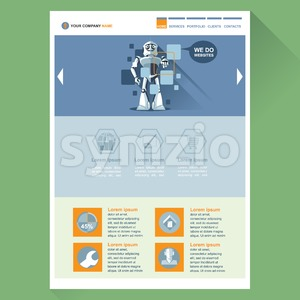 Robot web site theme layout. Digital background vector illustration. Stock Vector