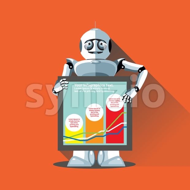 Silver humanoid robot presenting info graphic on a display. Digital background vector illustration. Stock Vector