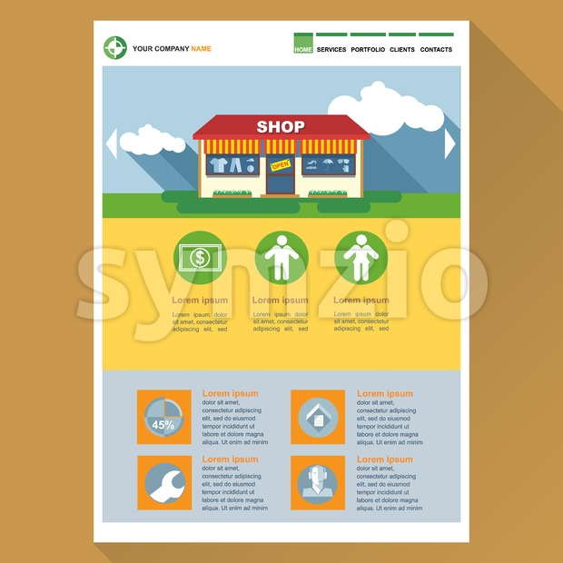 Shop company web site theme layout. Digital background vector illustration. Stock Vector