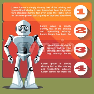Silver humanoid robot presenting info graphic. Digital background vector illustration. Stock Vector