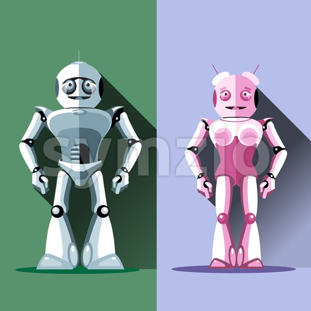 Two silver and pink humanoid robots, male and female. Digital background vector illustration