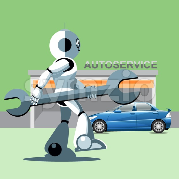 Silver humanoid robot presenting info graphics with tools and cars at auto service. Digital background vector illustration. Stock Vector