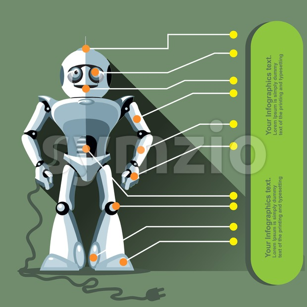 Silver humanoid robot displayed as an infographic with chip elements and a power outlet. Digital background vector illustration. Stock Vector
