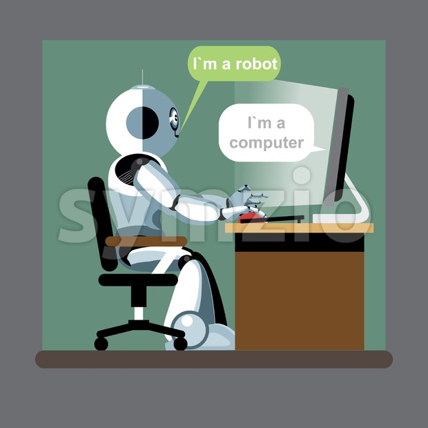 Silver humanoid robot sitting on a chair and working on a computer. Digital background vector illustration. Stock Vector