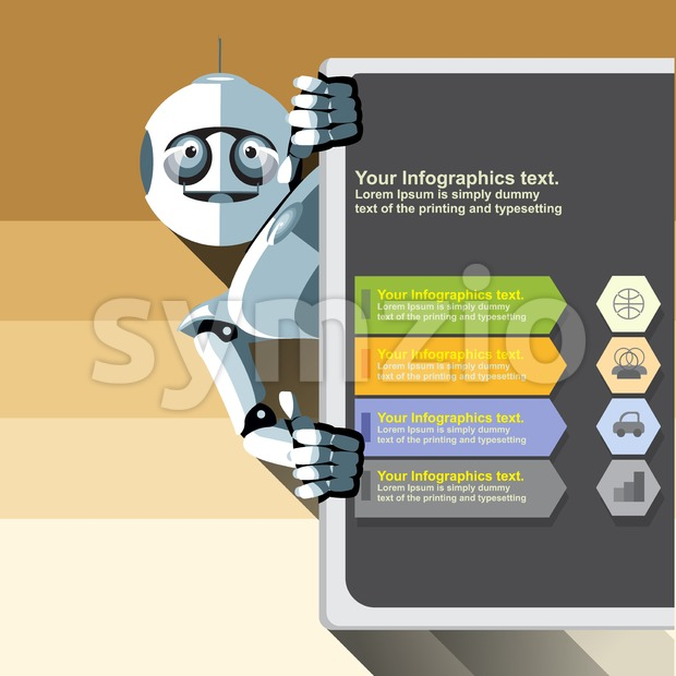 Silver humanoid robot presenting info graphic on a big display. Digital background vector illustration. Stock Vector