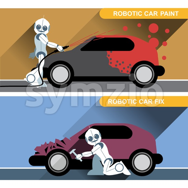 Silver humanoid robots fixing and painting cars with tools at an auto service. Digital background vector illustration. Stock Vector