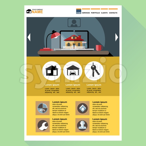 House building company web site theme layout. Digital background vector illustration.
