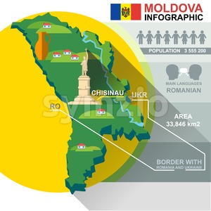 Republic of Moldova, country infographic and statistical data with best sights Stock Vector