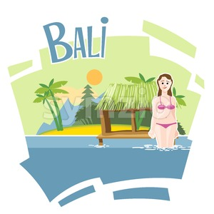 Bali flyer with a girl swimming into the sea Stock Vector