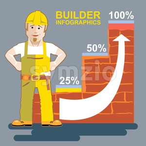 Builder man presenting an infographic Stock Vector