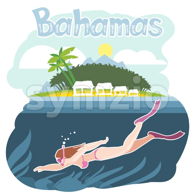 Bahamas flyer with a girl swimming underwater Stock Vector