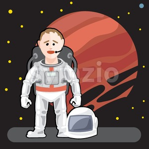 Spaceman in space with stars background Stock Vector