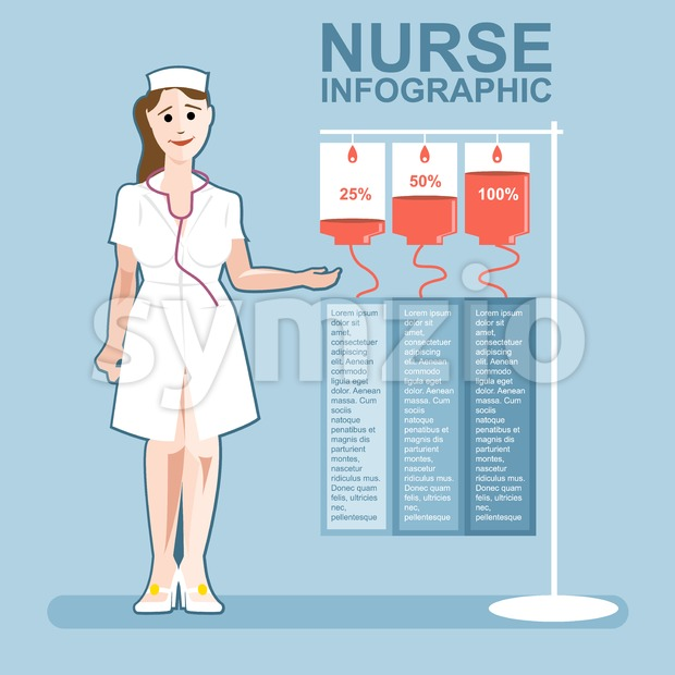 Nurse presenting an infographic, medical healthcare design Stock Vector