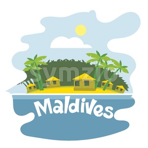 Maldives flyer with the beach and palm trees Stock Vector