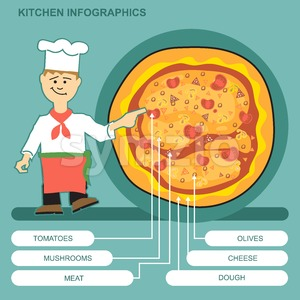 A cook with pizza presenting ingredients infographics Stock Vector